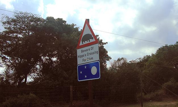 Dit is een bord dat je in België niet snel zal tegenkomen. Weetje van de dag: nijlpaarden zijn de dodelijkste dieren van Zuid-Afrika en veroorzaken het meeste doden bij mensen. [Getrokken in Sint Lucia]