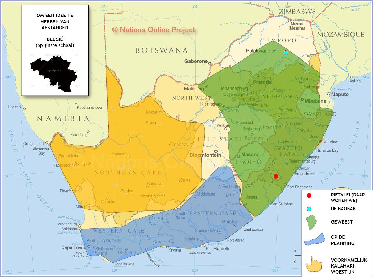 Kaart van Zuid-Afrika